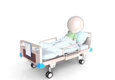 Patiënt in bed Stock Afbeelding