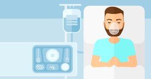 Patiënt die in het Bed van het Ziekenhuis ligt Stock Fotografie