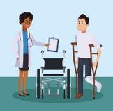 Patiënt met medisch team vector illustratie