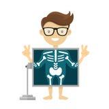 Patiënt tijdens x-ray procedure Vector het beeldverhaalillustratie van het radiologen x-ray vlakke karakter Geïsoleerd op wit Royalty-vrije Stock Foto's