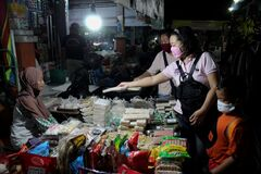Traditional night market in pati, Central Java, Indonesia