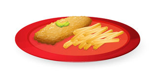 Patice and french fries in plate. Illustration of patice and french fries in plate on a white background Royalty Free Stock Photo