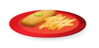 Patice y patatas fritas en placa ilustración del vector