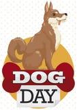 Patiemment et Loyal Oriental Breed Dog Waiting pour la canicule, illustration de vecteur Photographie stock libre de droits