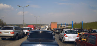 Patience in big traffic jam. Staff about necessity of patience for the big road jam Stock Photos