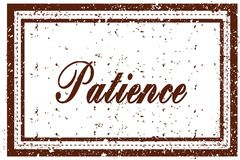 PATIENCE brown square distressed stamp Stock Photos
