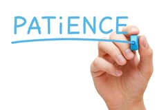 Free Patience Handwritten With Blue Marker Royalty Free Stock Images - 134328719