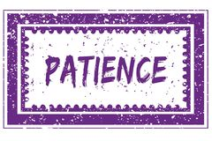 PATIENCE in magenta grunge square frame stamp Royalty Free Stock Image