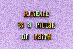Patience pillar faith virtue compassion letterpress. Typography simplicity compassion genius kindness goodness wisdom power time success love spirit stock photo