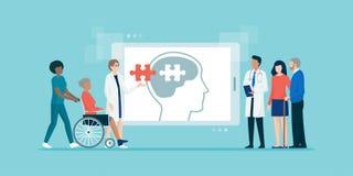 Patiens de ajuda da equipe médica profissional com doença de Alzheimer ilustração do vetor