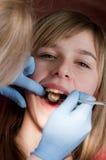 Patient à la clinique dentaire Photos libres de droits