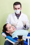 Patient afraid the dentist injection Stock Photos