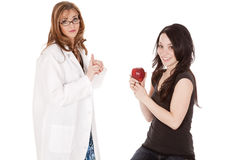 Patient with apple stock images