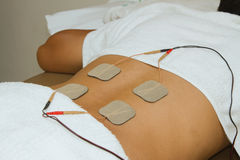 Patient  applying electrical stimulation therapy ( TENS ) Royalty Free Stock Photo