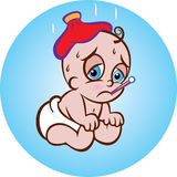 Patient baby. Vector illustration of cute sick sitting baby in diaper with ice bag and thermometer Stock Photography
