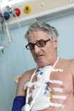 Patient with bandage on chest Stock Photo