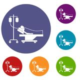 Patient in bed on a drip icons set Royalty Free Stock Images