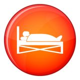 Patient in bed in hospital icon, flat style Stock Image