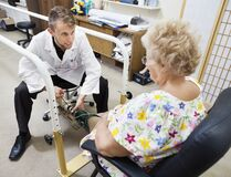 Free Patient Being Fitted With A Prosthetic Leg Stock Photography - 191853492