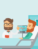Patient being treated by a doctor. A medical caucasian patient being treated by an expert doctor in a hospital room. Contemporary style with pastel palette Royalty Free Stock Image