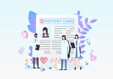 Patient Card Doctor Medical Diagnosis Discussion. Patient Card Man Woman Doctor Medical Diagnosis Discussion Female Nurse Vector Illustration. Record Paper vector illustration
