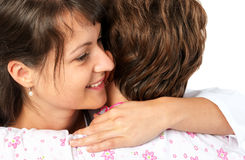 Patient and caregiver hugging Stock Image