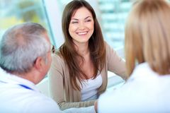 Patient in clinic. Portrait of female patient at consultation in hospital Royalty Free Stock Photos