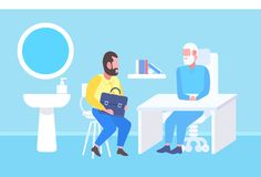 Patient d'homme ayant la consultation avec le docteur supérieur s'asseyant à la médecine intérieure de bureau moderne de clinique illustration de vecteur