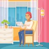 Patient d'oncologie et compte-gouttes intraveineux illustration libre de droits