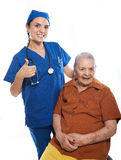 Patient de sourire heureux avec l'infirmière Photo stock