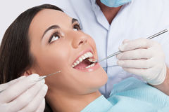 Patient at dentist office. Royalty Free Stock Image