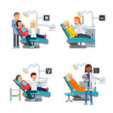 Patient in dentist room. Healthcare illustrations. Patient in chair dentist vector Stock Images