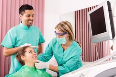 Patient in the dentist's office stock photo