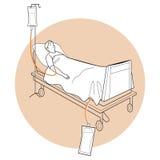 Patient, der auf Bett, medizinisches Bett, geduldiges Bett liegt Lizenzfreie Stockfotografie