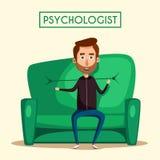 Patient, der mit Psychologe Cartoon-Vektorillustration spricht Lizenzfreie Stockbilder