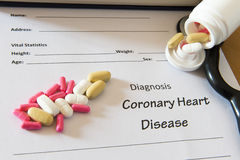 Patient diagnosis  form with pills and stethoscope. Medical conc Royalty Free Stock Photography