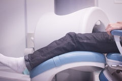 Patient and Doctor in fully open MRI CAT Scan Stock Photo