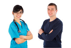 Happy with his doctor Stock Photography