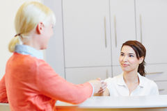 Patient at doctor reception Royalty Free Stock Photos