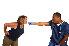 Patient Doctor Tug of War Stock Image