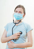 The patient  with stethoscope Royalty Free Stock Photo