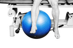Patient is doing an active exercise of tight hamstrings  in silh Royalty Free Stock Image