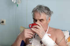 Patient drinks tea Stock Photos