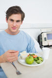 Patient eating healthy food in hospital Royalty Free Stock Image
