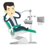 Patient effrayé dans l'illustration dentaire de vecteur de chaise illustration de vecteur