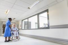 Patient féminin supérieur dans le fauteuil roulant et l'infirmière dans l'hôpital Photos stock