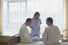 Patient för doktor And Nurse With i sjukhusrum fotografering för bildbyråer