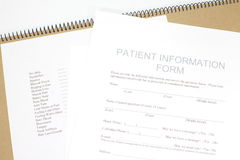 Patient Form Stock Photography