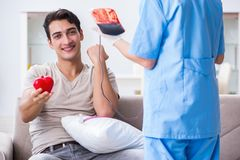 The patient getting blood transfusion in hospital clinic Royalty Free Stock Photography