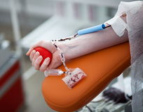 Patient giving blood Royalty Free Stock Image